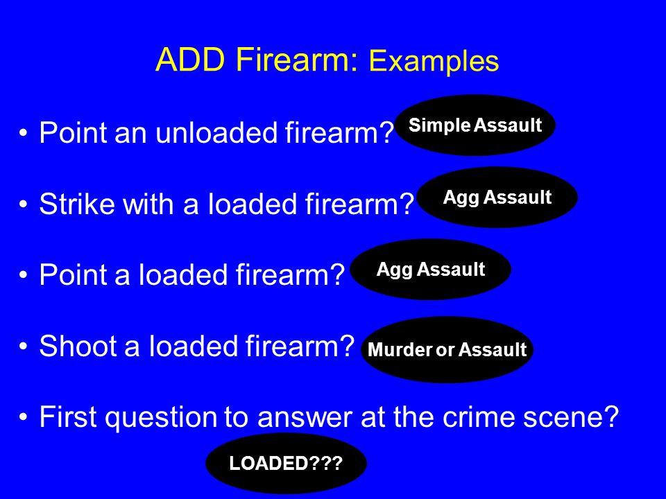 ADD Firearm: Examples Point an unloaded firearm.Strike with a loaded firearm.