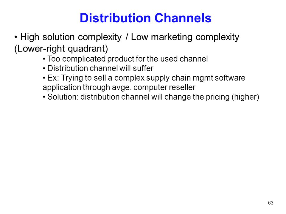 63 Distribution Channels High solution complexity / Low marketing complexity (Lower-right quadrant) Too complicated product for the used channel Distr