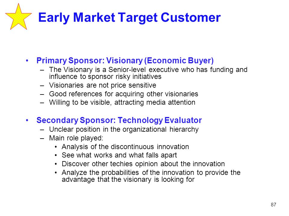 87 Early Market Target Customer Primary Sponsor: Visionary (Economic Buyer) –The Visionary is a Senior-level executive who has funding and influence t