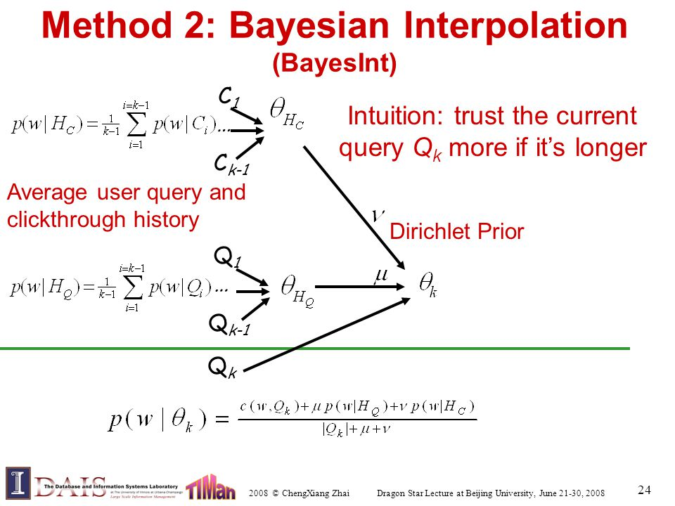 2008 © ChengXiang Zhai Dragon Star Lecture at Beijing University, June 21-30, 2008 24 Method 2: Bayesian Interpolation (BayesInt) Q1Q1 Q k-1 … C1C1 C