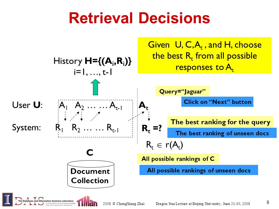 2008 © ChengXiang Zhai Dragon Star Lecture at Beijing University, June 21-30, 2008 8 Retrieval Decisions User U: A 1 A 2 … … A t-1 A t System: R 1 R 2