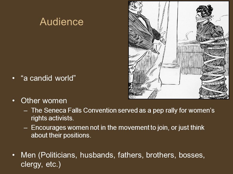 Audience a candid world Other women –The Seneca Falls Convention served as a pep rally for women's rights activists.