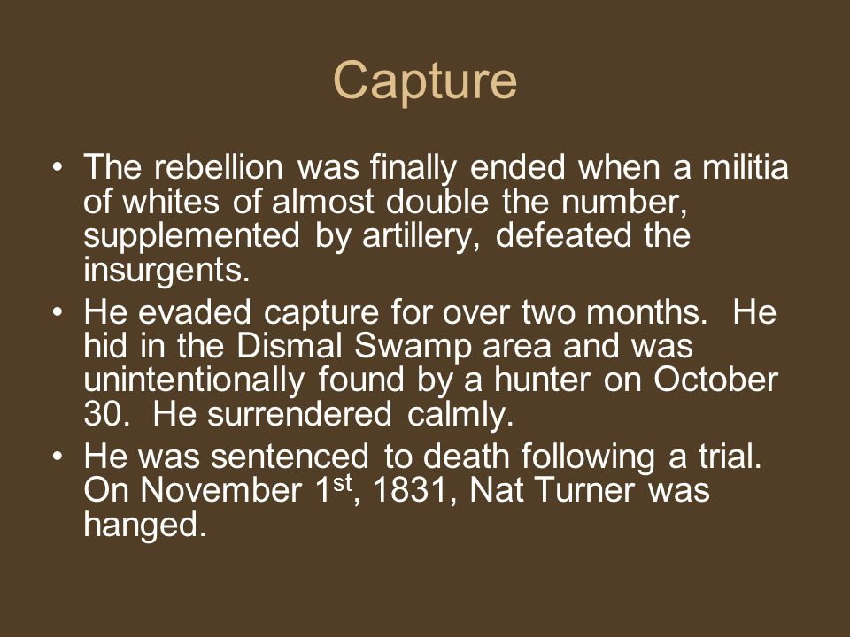 Capture The rebellion was finally ended when a militia of whites of almost double the number, supplemented by artillery, defeated the insurgents.