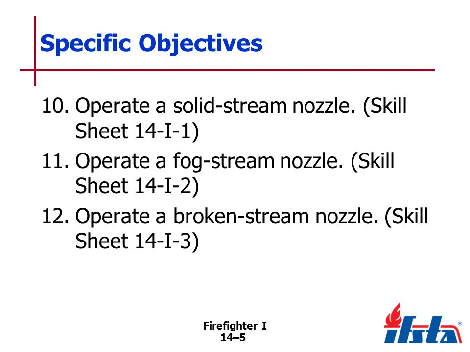 Firefighter I 14–66 Nozzle Inspections Swivel gasket for damage or wear; replace worn or missing gaskets External damage to the nozzle Internal damage and debris Ease of operation of the nozzle parts Pistol grip (if applicable) is secured to the nozzle