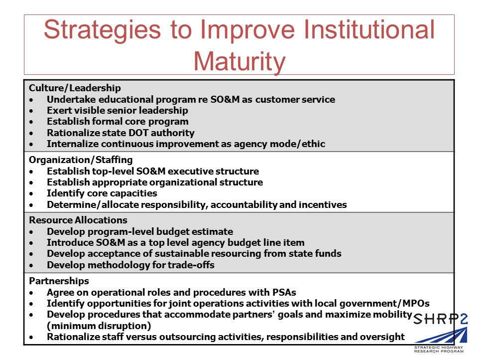Strategies to Improve Institutional Maturity Culture/Leadership  Undertake educational program re SO&M as customer service  Exert visible senior leadership  Establish formal core program  Rationalize state DOT authority  Internalize continuous improvement as agency mode/ethic Organization/Staffing  Establish top-level SO&M executive structure  Establish appropriate organizational structure  Identify core capacities  Determine/allocate responsibility, accountability and incentives Resource Allocations  Develop program-level budget estimate  Introduce SO&M as a top level agency budget line item  Develop acceptance of sustainable resourcing from state funds  Develop methodology for trade-offs Partnerships  Agree on operational roles and procedures with PSAs  Identify opportunities for joint operations activities with local government/MPOs  Develop procedures that accommodate partners ' goals and maximize mobility (minimum disruption)  Rationalize staff versus outsourcing activities, responsibilities and oversight