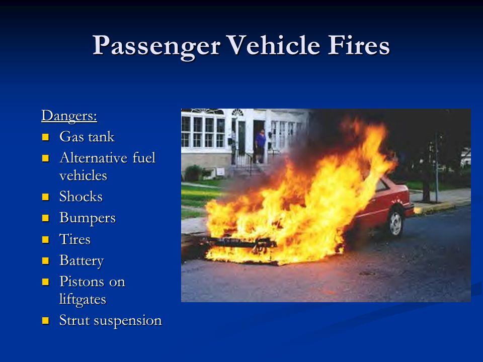 Passenger Vehicle Fires Dangers: Gas tank Gas tank Alternative fuel vehicles Alternative fuel vehicles Shocks Shocks Bumpers Bumpers Tires Tires Batte