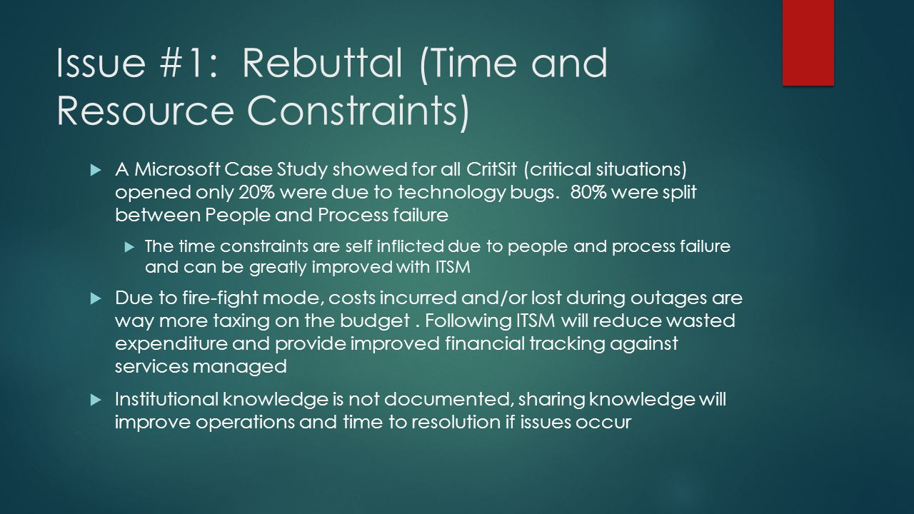 Issue #1: Rebuttal (Time and Resource Constraints)  A Microsoft Case Study showed for all CritSit (critical situations) opened only 20% were due to technology bugs.
