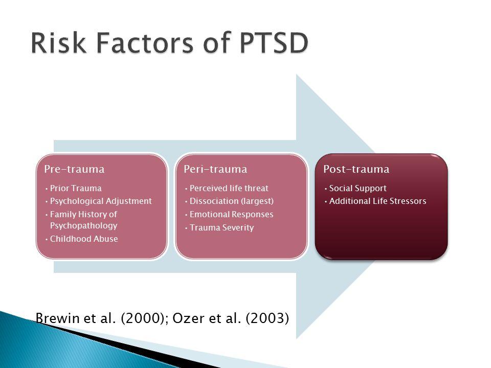 Brewin et al. (2000); Ozer et al. (2003) Pre-trauma Prior Trauma Psychological Adjustment Family History of Psychopathology Childhood Abuse Peri-traum