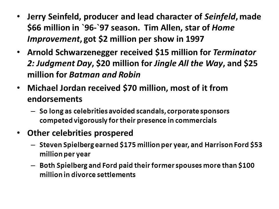 Jerry Seinfeld, producer and lead character of Seinfeld, made $66 million in `96-`97 season.