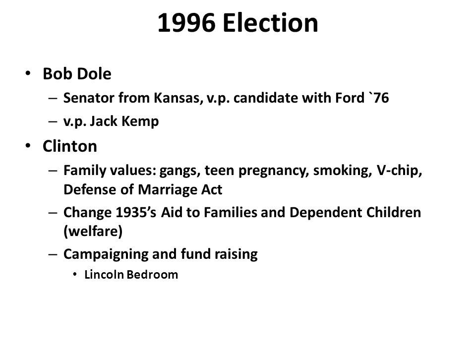1996 Election Bob Dole – Senator from Kansas, v.p.