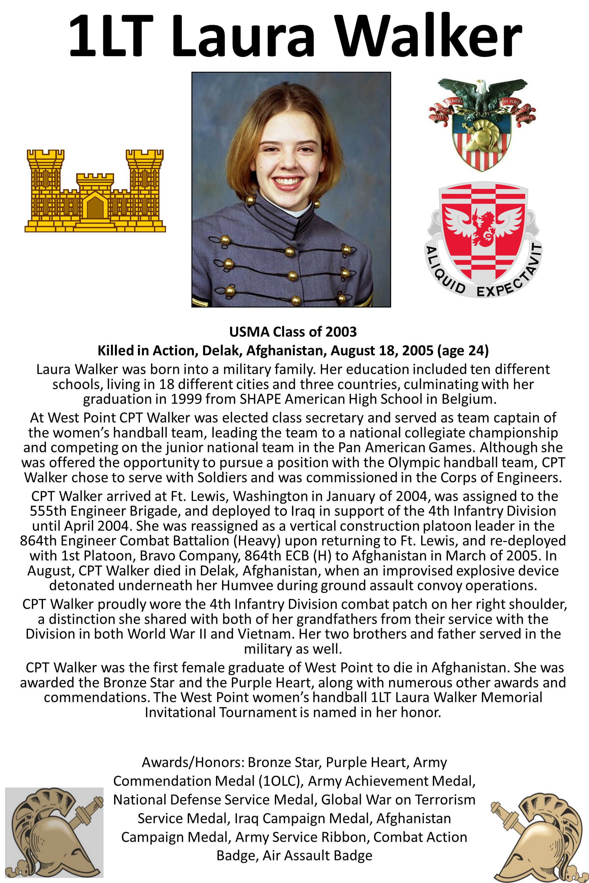 1LT Laura Walker USMA Class of 2003 Killed in Action, Delak, Afghanistan, August 18, 2005 (age 24) Laura Walker was born into a military family.