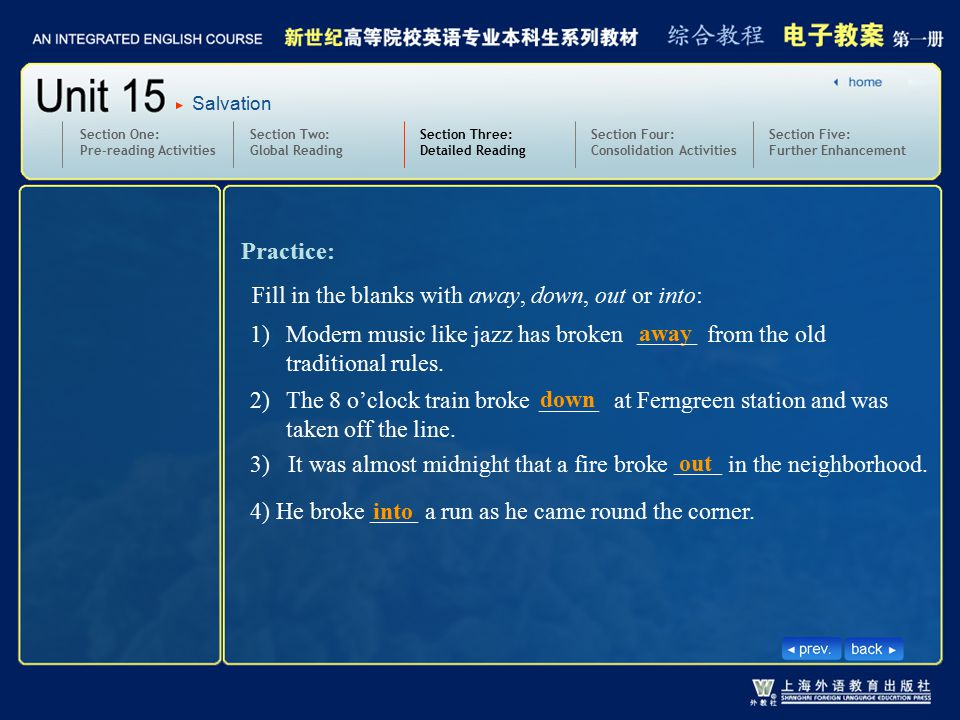 Section Two: Global Reading Section Three: Detailed Reading 3.text11-13_W_break into2 Section One: Pre-reading Activities Section Four: Consolidation Activities Section Five: Further Enhancement Practice: Salvation 1)Modern music like jazz has broken from the old traditional rules.