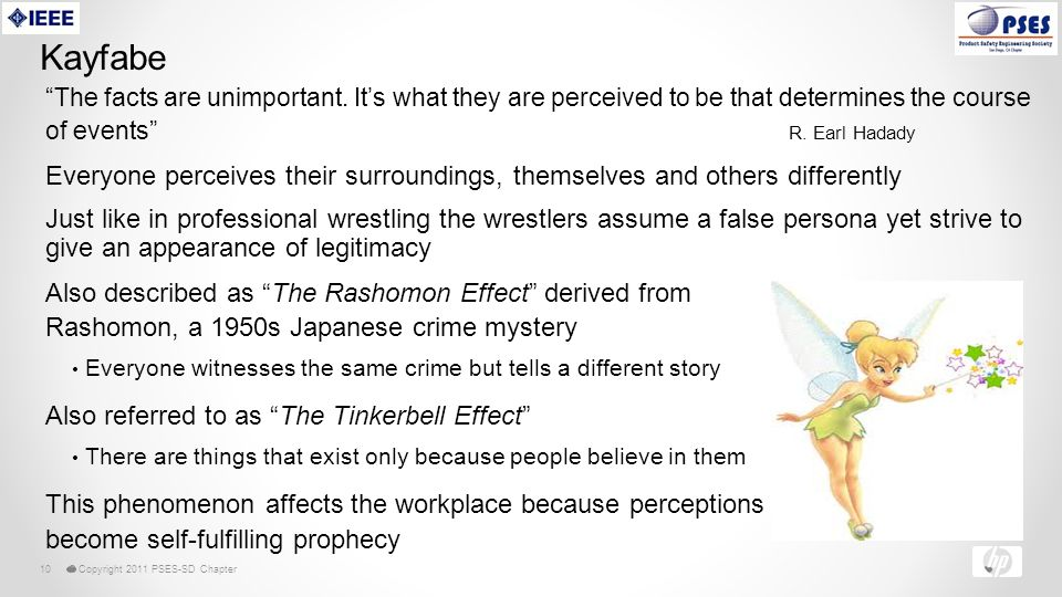 © Copyright 2011 PSES-SD Chapter10 Kayfabe The facts are unimportant.