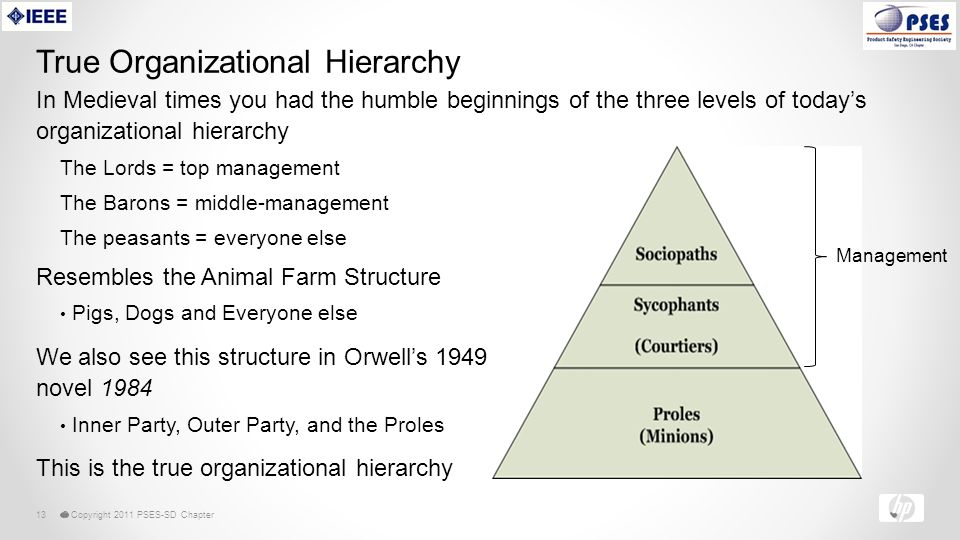 © Copyright 2011 PSES-SD Chapter13 True Organizational Hierarchy Resembles the Animal Farm Structure Pigs, Dogs and Everyone else We also see this structure in Orwell's 1949 novel 1984 Inner Party, Outer Party, and the Proles This is the true organizational hierarchy Management In Medieval times you had the humble beginnings of the three levels of today's organizational hierarchy The Lords = top management The Barons = middle-management The peasants = everyone else