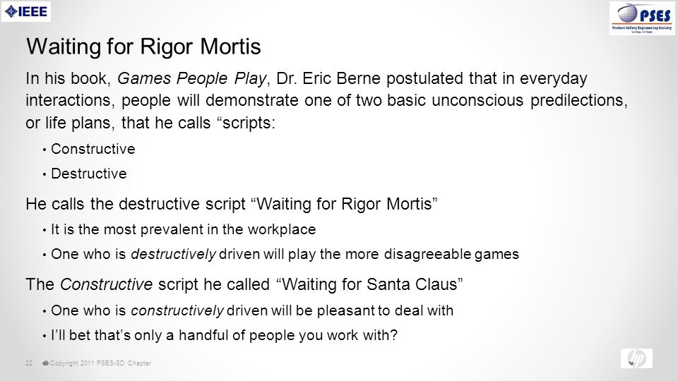 © Copyright 2011 PSES-SD Chapter22 Waiting for Rigor Mortis In his book, Games People Play, Dr.