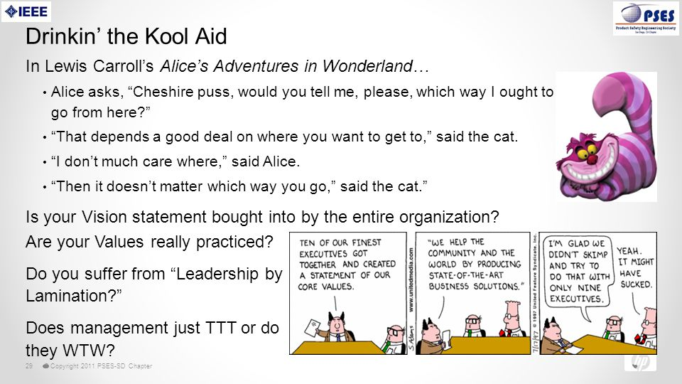 © Copyright 2011 PSES-SD Chapter29 Drinkin' the Kool Aid In Lewis Carroll's Alice's Adventures in Wonderland… Alice asks, Cheshire puss, would you tell me, please, which way I ought to go from here? That depends a good deal on where you want to get to, said the cat.