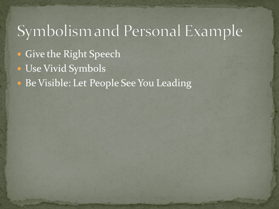 Give the Right Speech Use Vivid Symbols Be Visible: Let People See You Leading