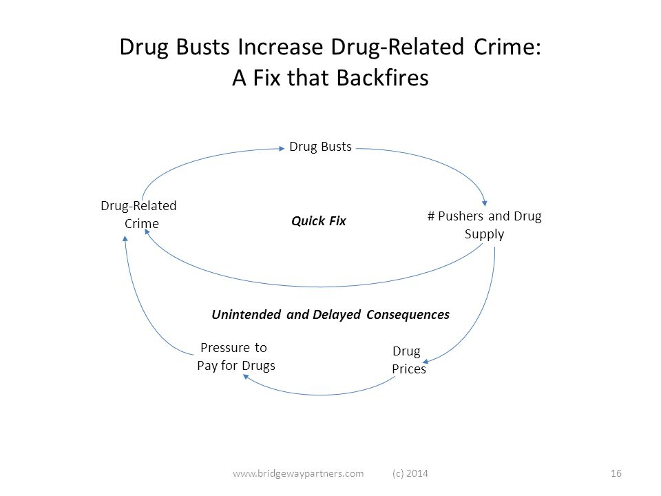Drug Busts Increase Drug-Related Crime: A Fix that Backfires www.bridgewaypartners.com (c) 201416 Drug-Related Crime Drug Busts # Pushers and Drug Supply Drug Prices Pressure to Pay for Drugs Quick Fix Unintended and Delayed Consequences