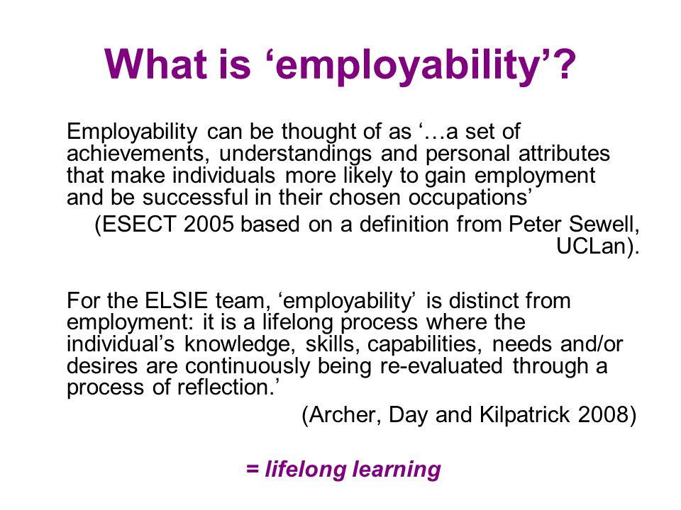 The S.E.E model shows the continual aspect of self awareness and employability (Kilpatrick 2008) Employability Employment Self Awareness / Self evaluation