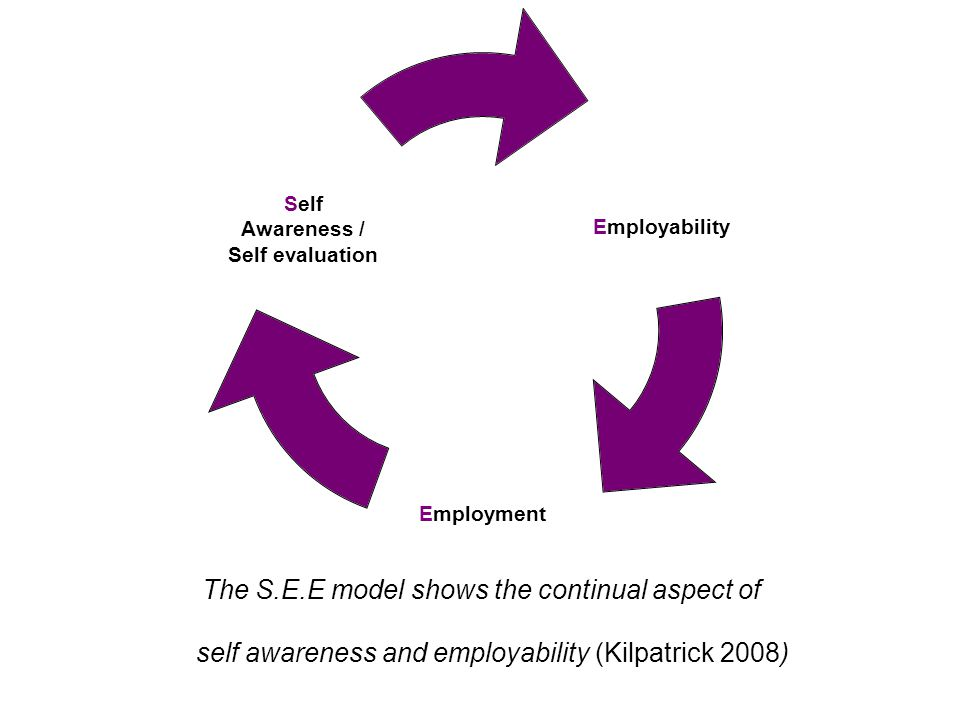 The S.E.E model shows the continual aspect of self awareness and employability (Kilpatrick 2008) Employability Employment Self Awareness / Self evalua