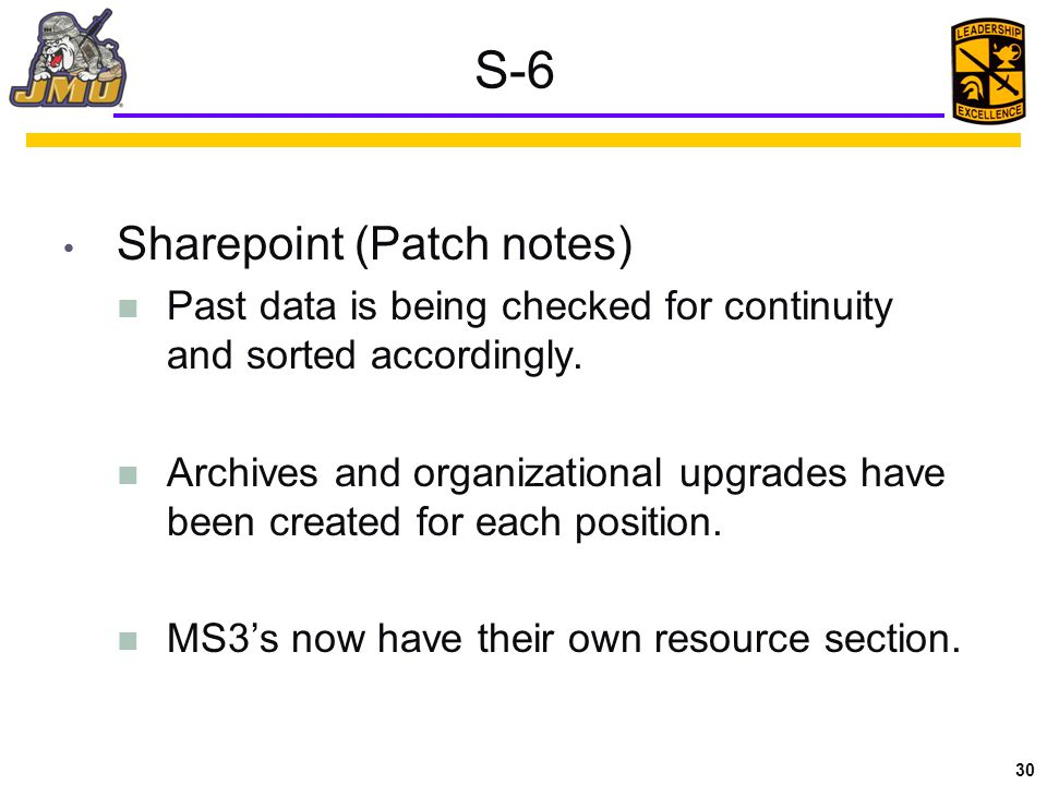 30 S-6 Sharepoint (Patch notes) Past data is being checked for continuity and sorted accordingly.