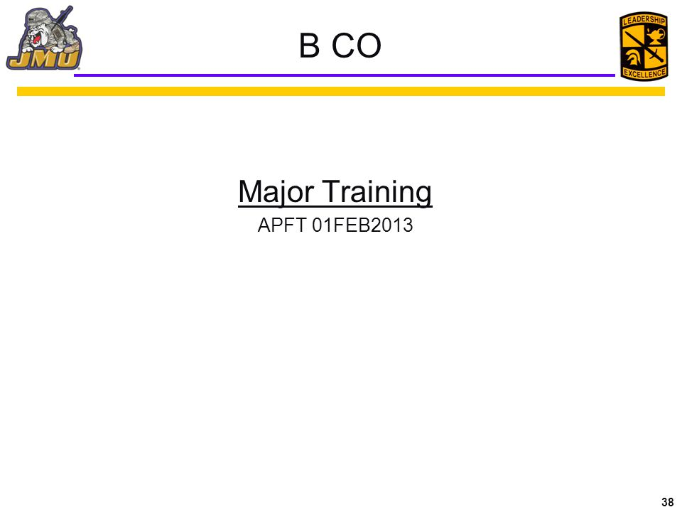 38 B CO Major Training APFT 01FEB2013