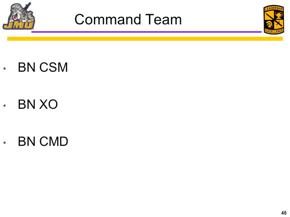 46 Command Team BN CSM BN XO BN CMD