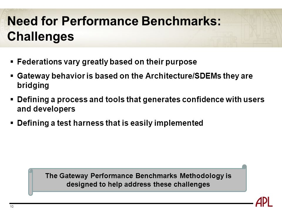 Need for Performance Benchmarks: Challenges  Federations vary greatly based on their purpose  Gateway behavior is based on the Architecture/SDEMs th
