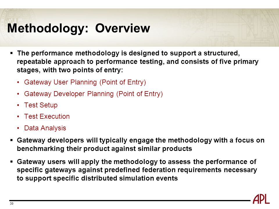 Methodology: Overview  The performance methodology is designed to support a structured, repeatable approach to performance testing, and consists of f