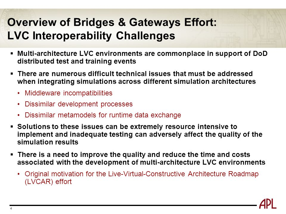 Overview of Bridges & Gateways Effort: LVC Interoperability Challenges  Multi-architecture LVC environments are commonplace in support of DoD distrib