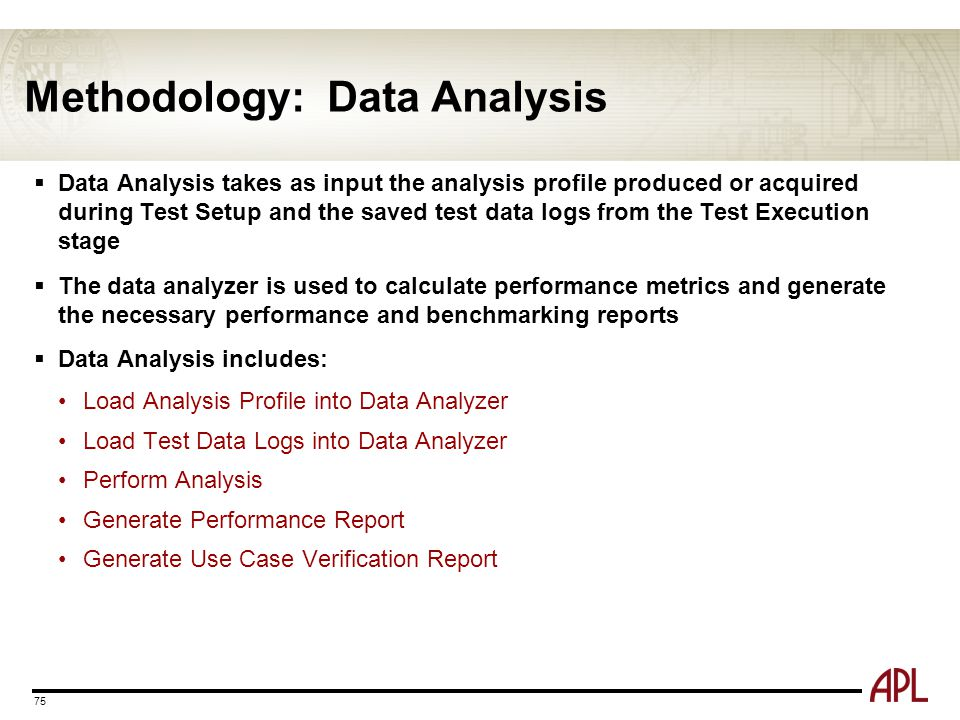 Methodology: Data Analysis 75  Data Analysis takes as input the analysis profile produced or acquired during Test Setup and the saved test data logs