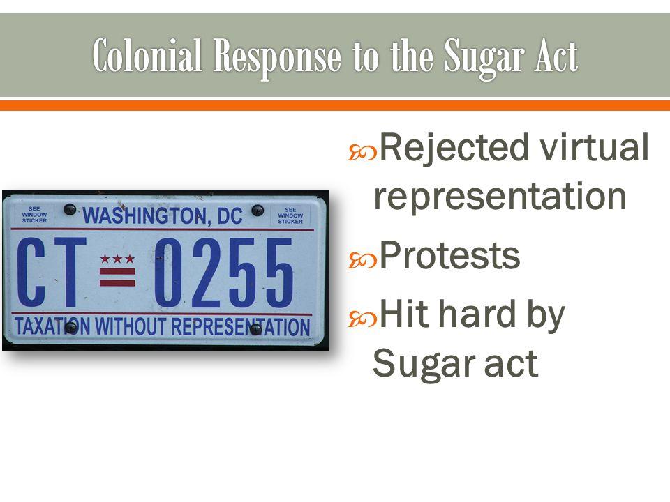 Rejected virtual representation  Protests  Hit hard by Sugar act