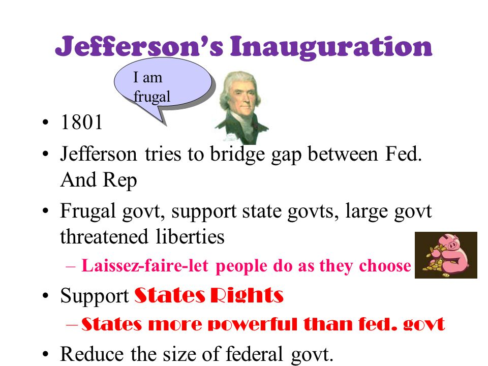 Ch 9 Jefferson Era Sec 1 Election 1800 Republicans TAKE POWER Jefferson President/Aaron Burr VP –Tie in the electoral college, so House of Reps decides –Alexander Hamilton urged one Federalist to vote Demo.Rep for Jefferson 12 th Amendment –Requires electors (electoral college) to vote for Pres and VP separately Jefferson won only because of Hamilton!!