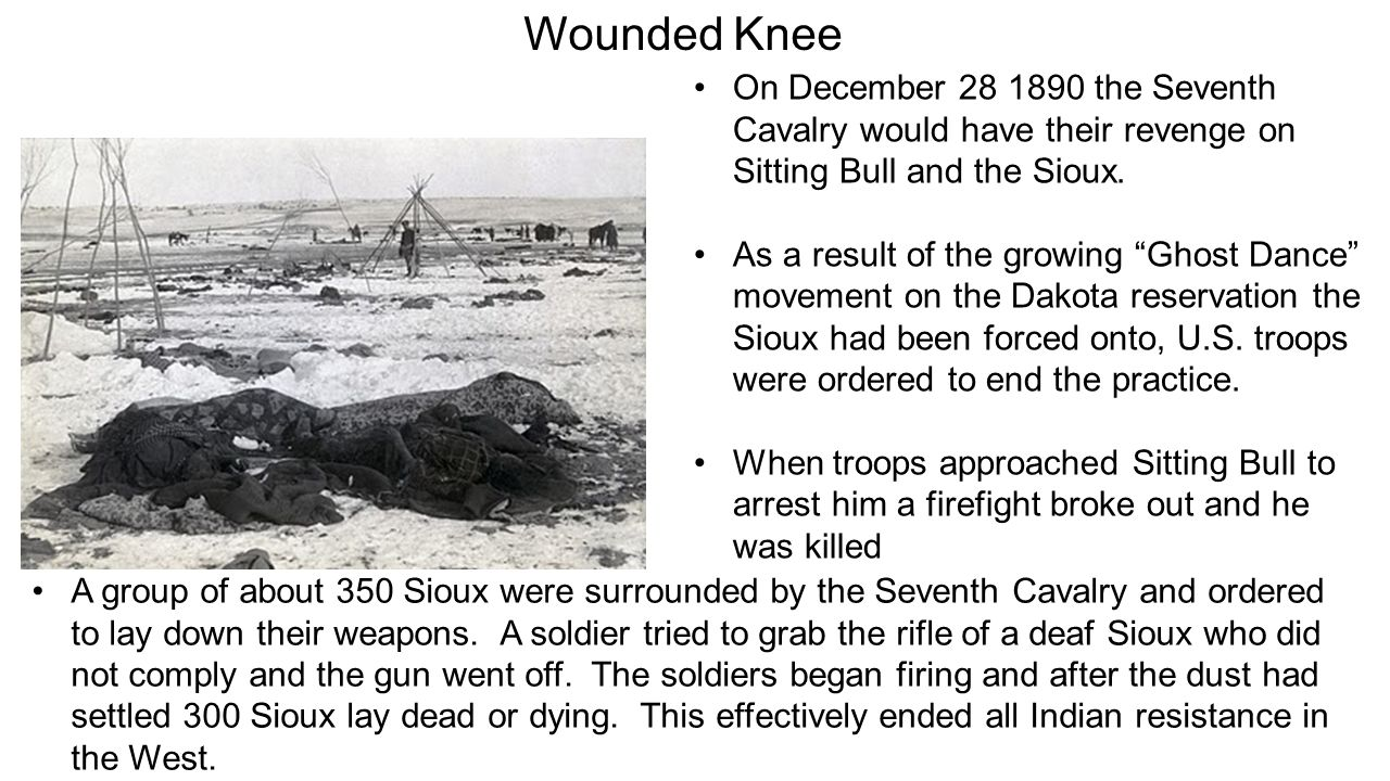 Wounded Knee On December 28 1890 the Seventh Cavalry would have their revenge on Sitting Bull and the Sioux.