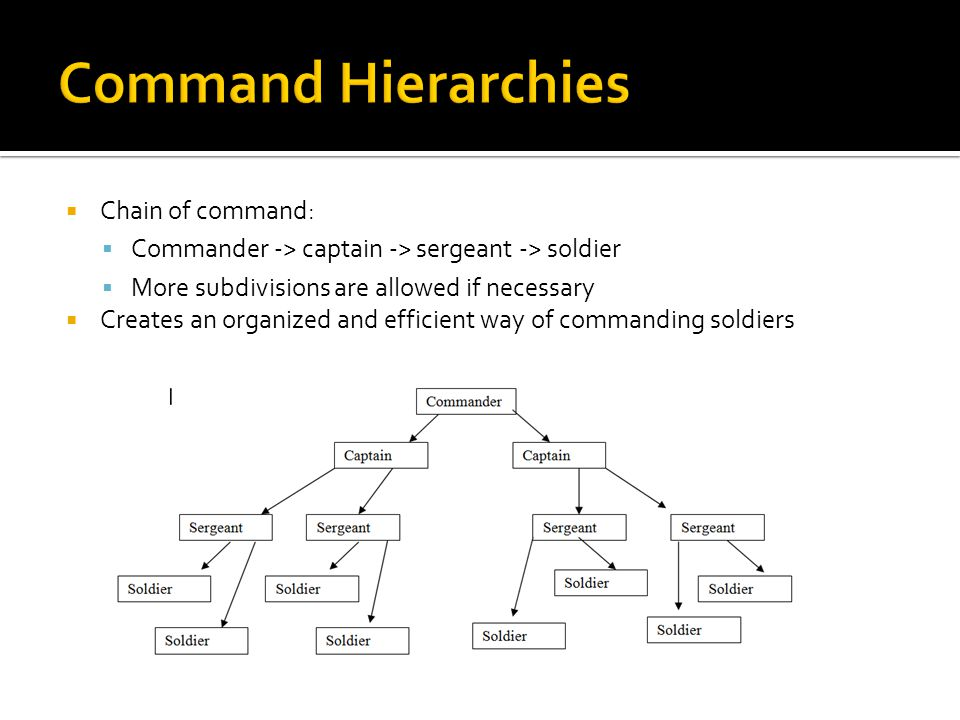  Chain of command:  Commander -> captain -> sergeant -> soldier  More subdivisions are allowed if necessary  Creates an organized and efficient way of commanding soldiers