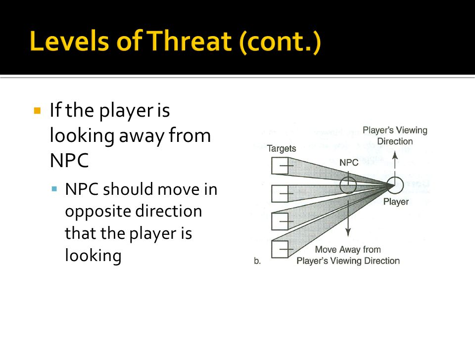  If the player is looking away from NPC  NPC should move in opposite direction that the player is looking