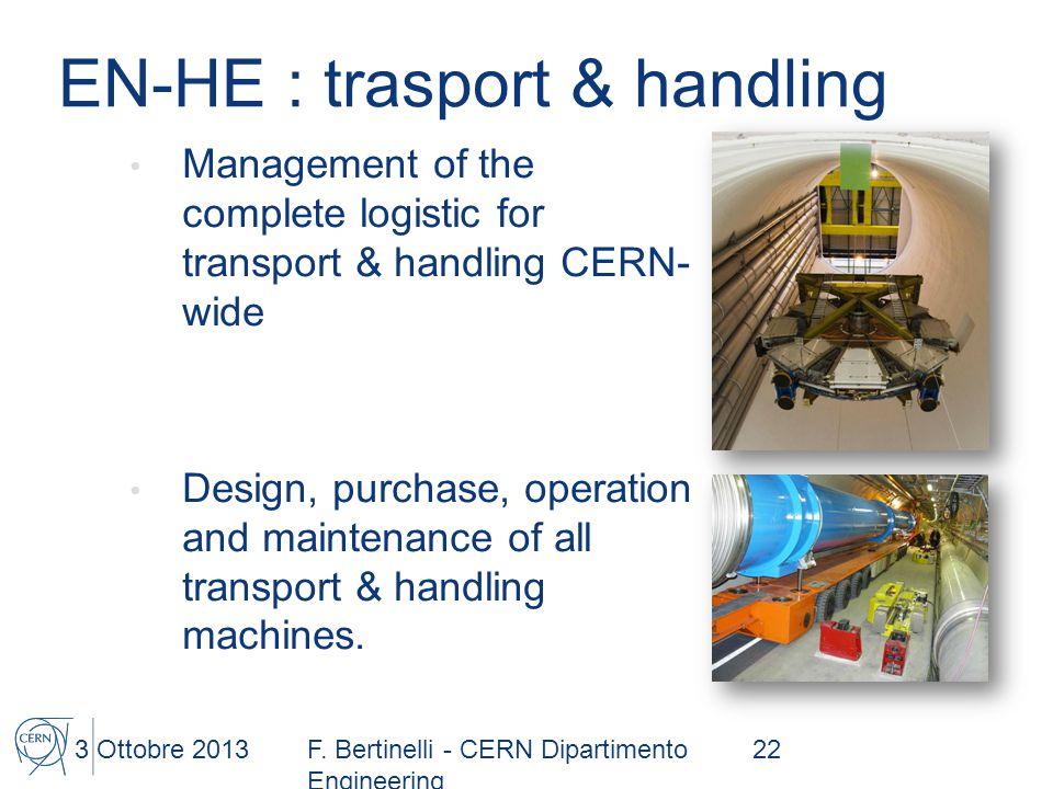 EN-HE : trasport & handling Management of the complete logistic for transport & handling CERN- wide Design, purchase, operation and maintenance of all transport & handling machines.