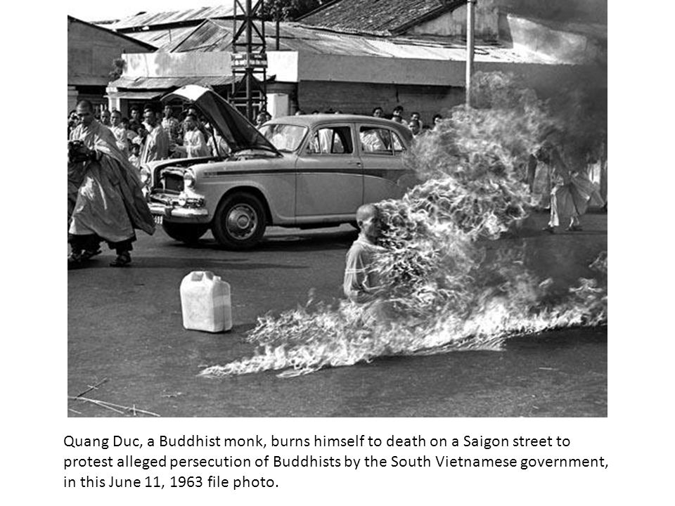 Quang Duc, a Buddhist monk, burns himself to death on a Saigon street to protest alleged persecution of Buddhists by the South Vietnamese government, in this June 11, 1963 file photo.