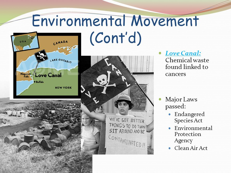 Environmental Movement (Cont'd) Love Canal: Chemical waste found linked to cancers Major Laws passed: Endangered Species Act Environmental Protection