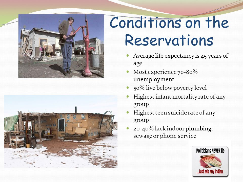 Conditions on the Reservations Average life expectancy is 45 years of age Most experience 70-80% unemployment 50% live below poverty level Highest infant mortality rate of any group Highest teen suicide rate of any group 20-40% lack indoor plumbing, sewage or phone service