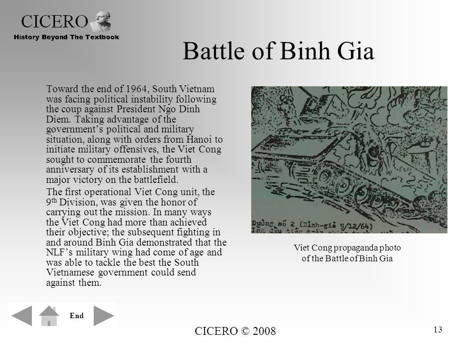 CICERO © 2008 13 Battle of Binh Gia Toward the end of 1964, South Vietnam was facing political instability following the coup against President Ngo Di