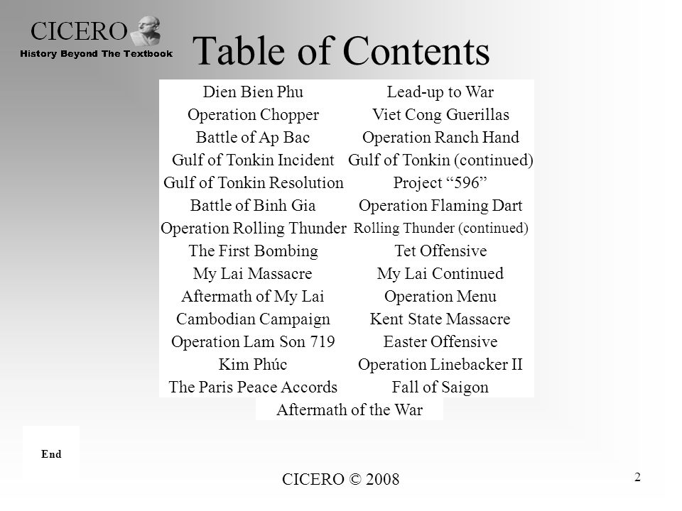 CICERO © 2008 2 Table of Contents Cambodian CampaignKent State Massacre Aftermath of My LaiOperation Menu My Lai MassacreMy Lai Continued Battle of Bi