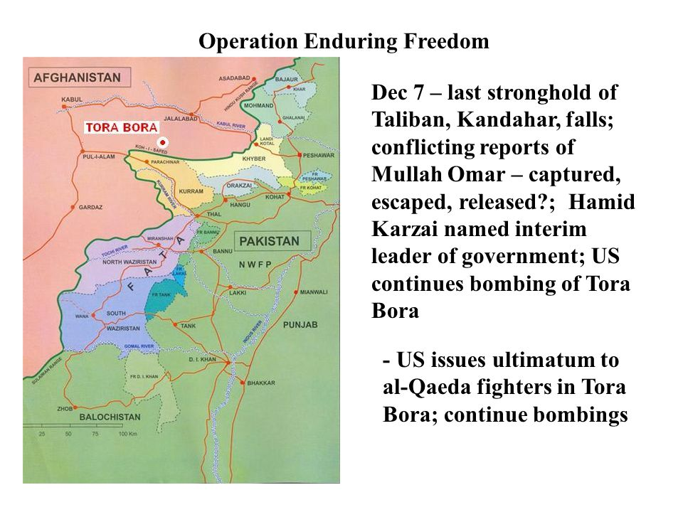 Operation Enduring Freedom Dec 7 – last stronghold of Taliban, Kandahar, falls; conflicting reports of Mullah Omar – captured, escaped, released?; Hamid Karzai named interim leader of government; US continues bombing of Tora Bora - US issues ultimatum to al-Qaeda fighters in Tora Bora; continue bombings