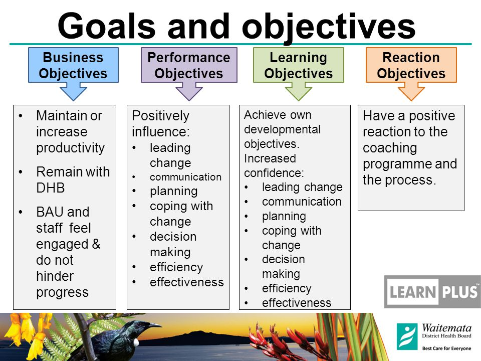 Goals and objectives Business Objectives Performance Objectives Learning Objectives Reaction Objectives Maintain or increase productivity Remain with DHB BAU and staff feel engaged & do not hinder progress Positively influence: leading change communication planning coping with change decision making efficiency effectiveness Achieve own developmental objectives.