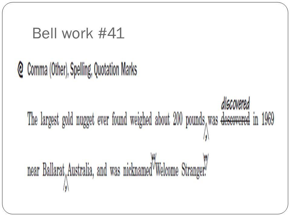 Bell work #41