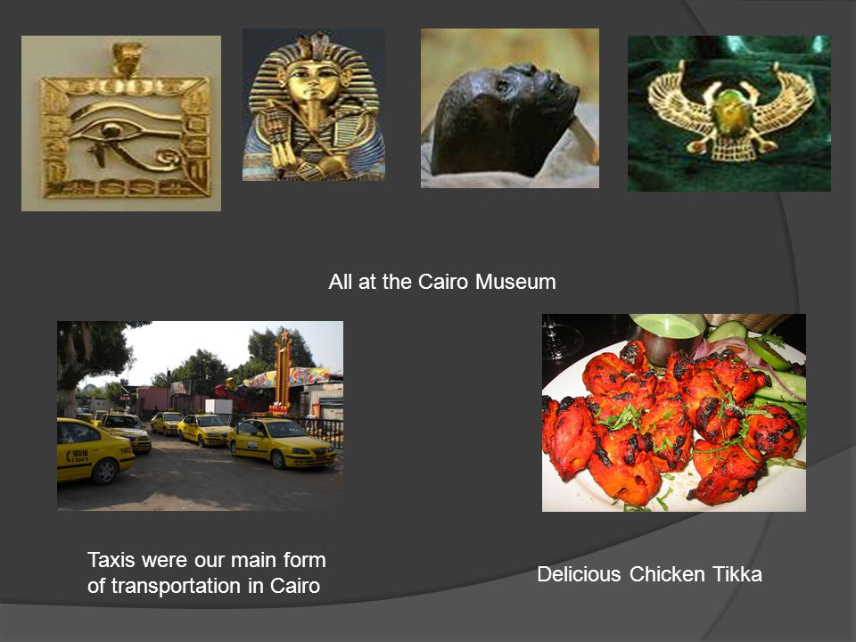 All at the Cairo Museum Taxis were our main form of transportation in Cairo Delicious Chicken Tikka