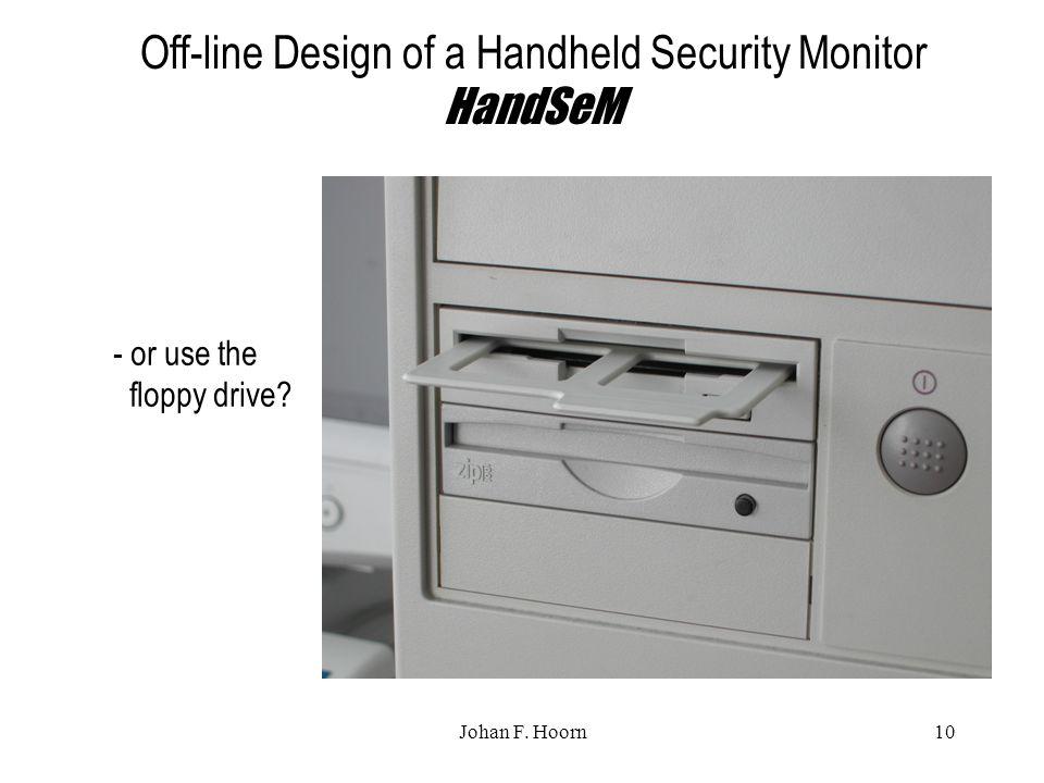 Johan F. Hoorn10 Off-line Design of a Handheld Security Monitor HandSeM - or use the floppy drive