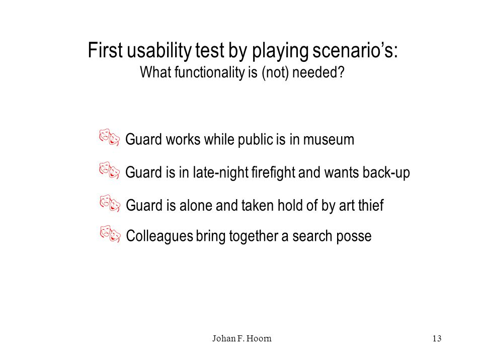 Johan F. Hoorn13 First usability test by playing scenario's: What functionality is (not) needed.