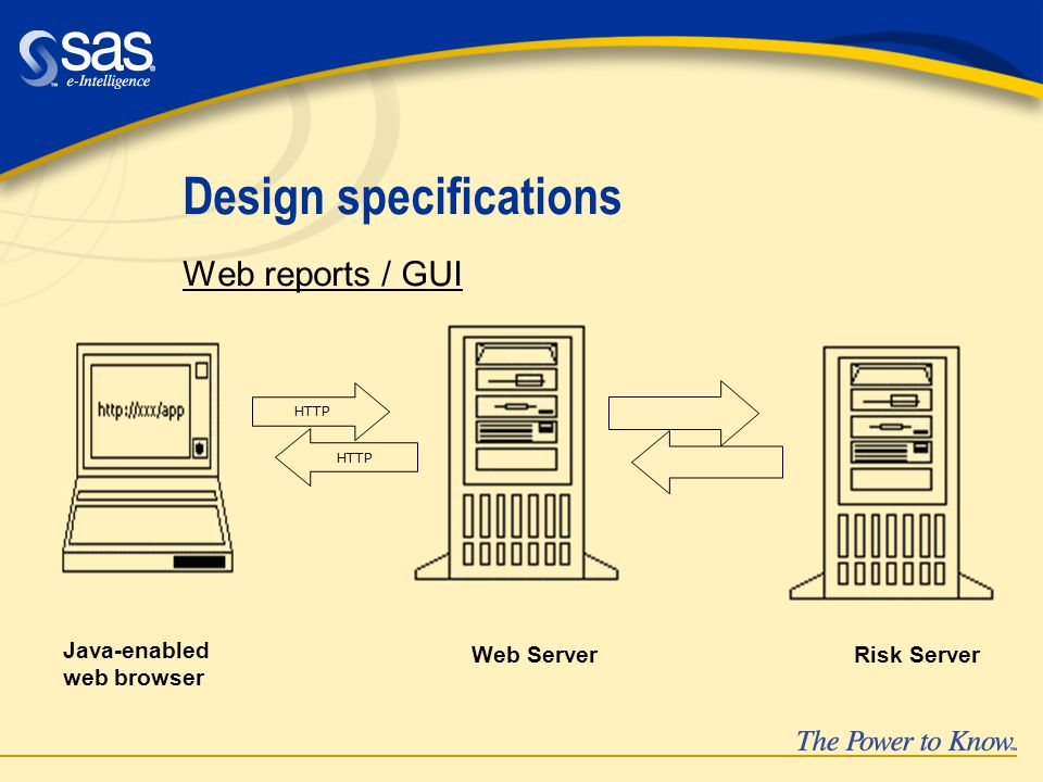 Design specifications Web reports / GUI Web Server Java-enabled web browser Risk Server HTTP