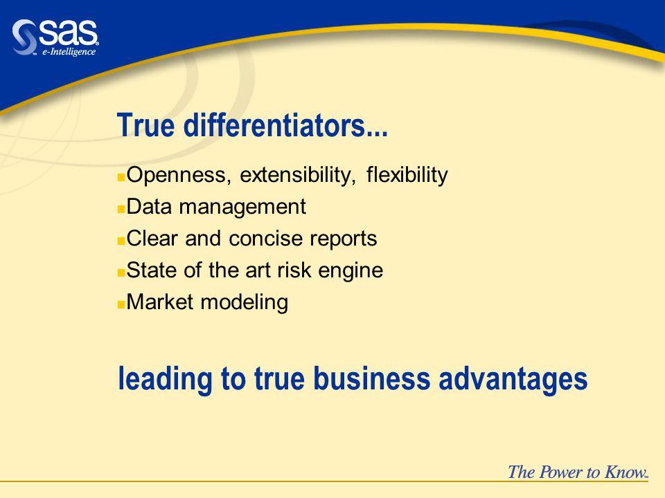 True differentiators...